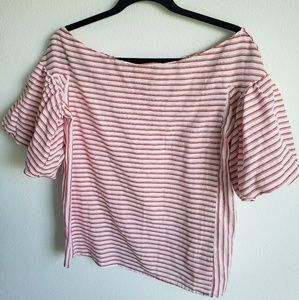 Bungee Red and White Striped Off the Shoulder Top